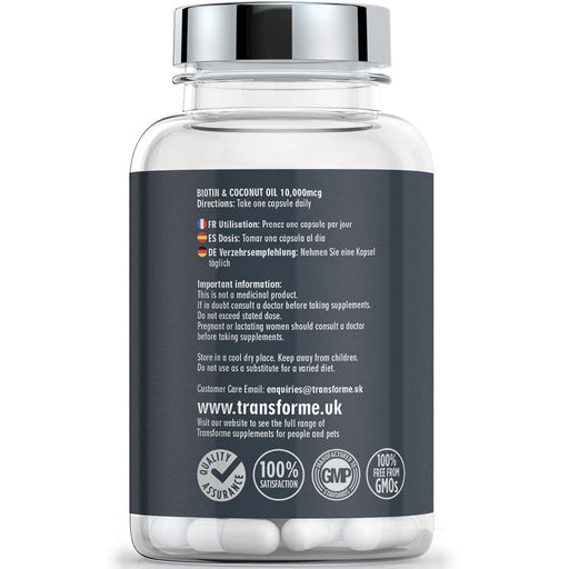 Transforme Biotin and Coconut Oil 10000mcg, 365 capsules bottle, back showing directions for use