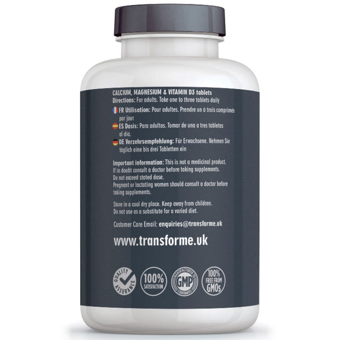 Calcium, Magnesium and Vitamin D3, 360 Vegetarian tablets by Transforme, for bones, teeth and muscle function, bottle back showing directions for use