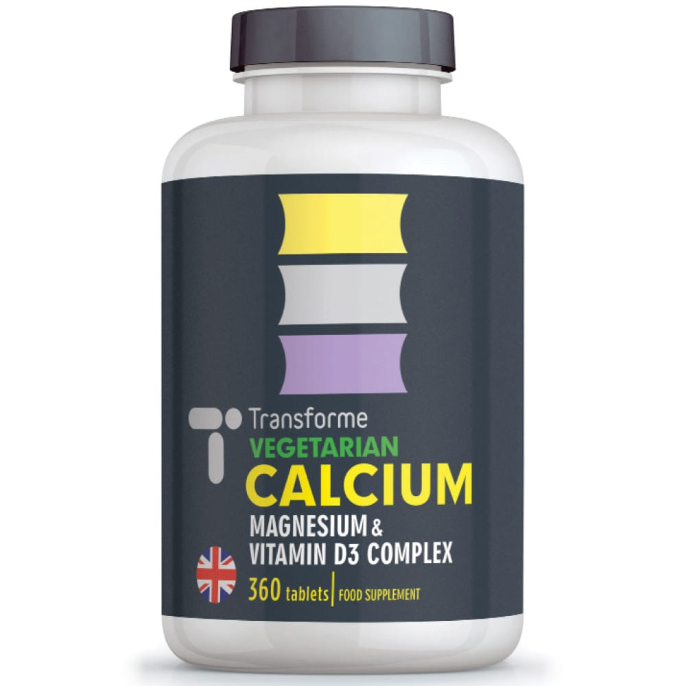 Calcium Magnesium Vitamin D3, 360 vegetarian tablets, bones, teeth, muscle function and immune system, three tablets give full NRV, from Transforme