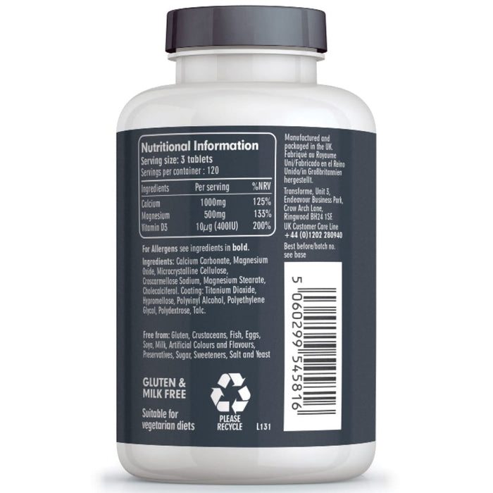 Transforme Calcium, Magnesium and Vitamin D3 Vegetarian tablets food supplement, 360 bottle back showing nutritional information