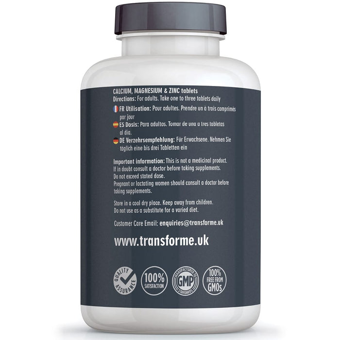 Transforme Calcium Magnesium and Zinc Tablets for Bones, Skin, Hair, Nails, Immune System and Muscle Function, Vegetarian & Vegan, 365 bottle back showing directions for use