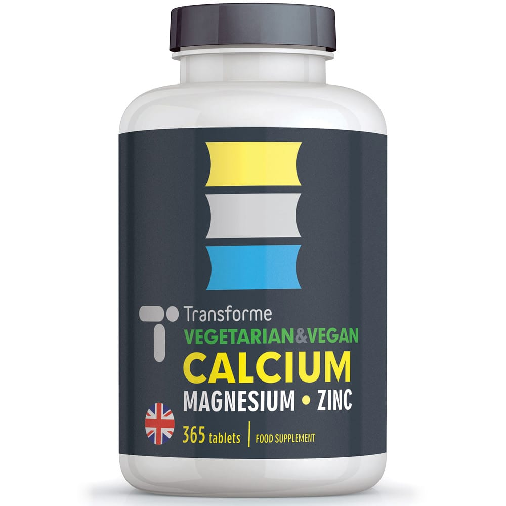 Calcium Magnesium Zinc, 365 vegetarian & vegan tablets, bones, teeth, skin, hair and immune system, three tablets give full NRV, from Transforme