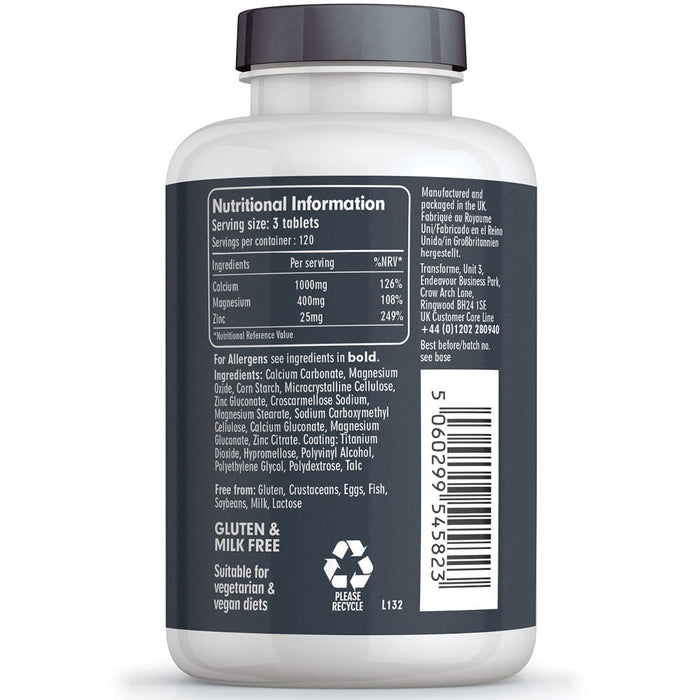 Calcium Magnesium and Zinc, 365 Vegetarian & Vegan Tablets by Transforme, bottle back view showing nutritional information