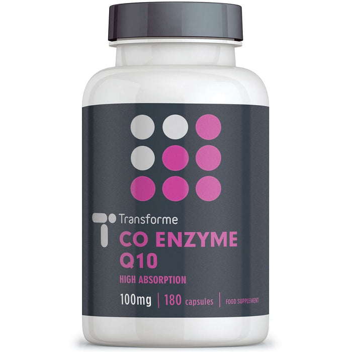 Co Enzyme Q10 100mg capsules supplement, Transforme 180 CoQ10 softgels bottle front