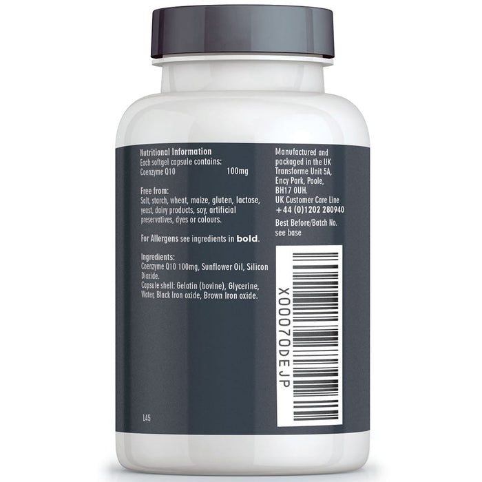 Co Enzyme Q10 100mg supplement, Transforme 180 CoQ10 softgel capsules bottle back showing nutritional information