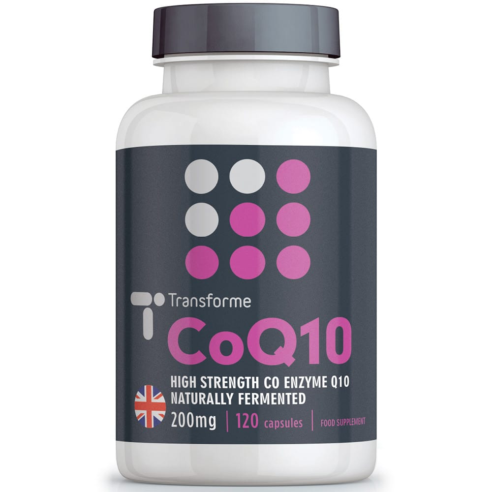 Co Enzyme Q10 200mg capsules supplement, Transforme 120 CoQ10 softgels bottle front