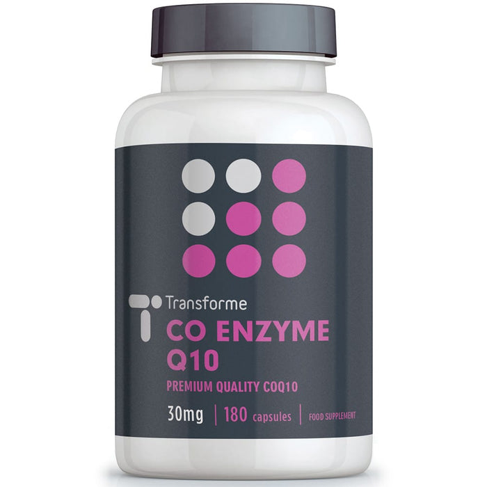 Transforme CoQ10 30mg capsules, Coenzyme Q10 softgels bottle front
