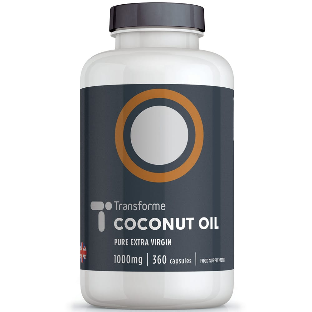 Pure Extra Virgin Coconut Oil 1000mg, cold pressed for quality in easy to swallow softgel capsules, natural healthy fatty acids, MCTs superfood from Transforme