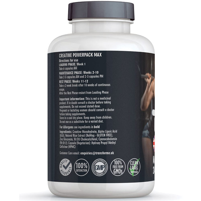 Creatine capsules by Transforme, 240 pack, Creatine Monohydrate, bottle back showing directions for use