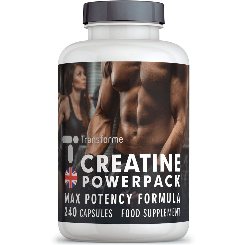 Creatine Monohydrate Complex, with ALA, Zinc, Vitamins D3 and B12, 4200mg serving, 240 capsules supplement by Transforme, bottle front