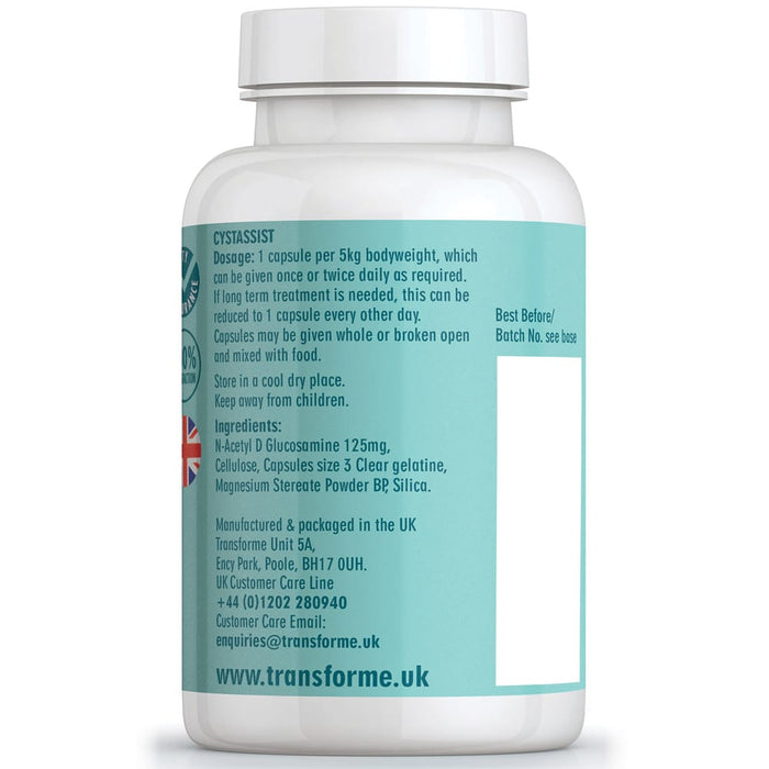 Transforme Cystassist 180 capsules with N-Acetyl D Glucosamine, bottle back showing directions for use and ingredients