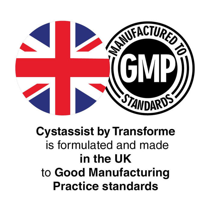 Union flag and GMP roundal logos. Transforme Cystassist is made in the UK to Good Manufacturing Practice standards.