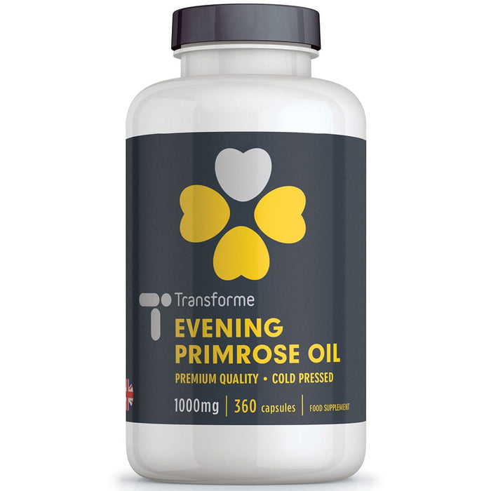 Evening Primrose Oil 1000mg capsules, cold pressed Omega 6 fatty acids, high strength 9% GLA - 90mg Gamma Linolenic Acid, 90, 180, 360 capsules from Transforme