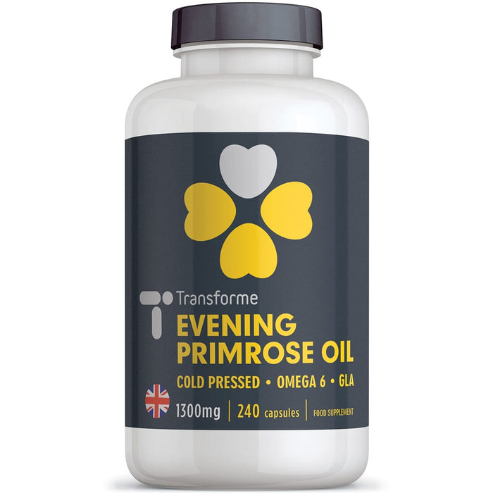 Evening Primrose Oil 1300mg capsules, pure cold pressed Omega 6 fatty acids, high strength 9% GLA - 117mg Gamma Linolenic Acid, 240 capsules, from Transforme