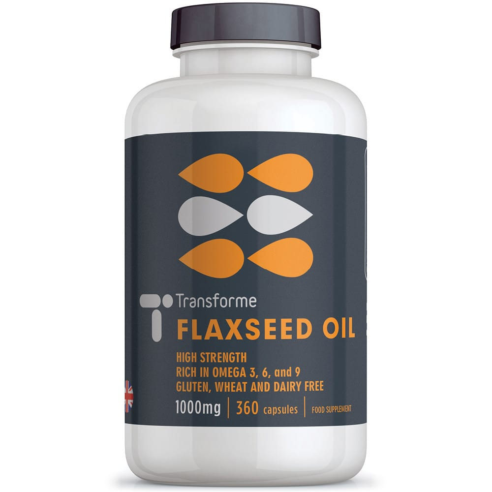 Flaxseed Oil Omega 3 6 9, ALA, LA, cold pressed strength & potency, fish free fatty acids, easy to swallow softgels, 90, 180 & 360 capsule bottles from Transforme