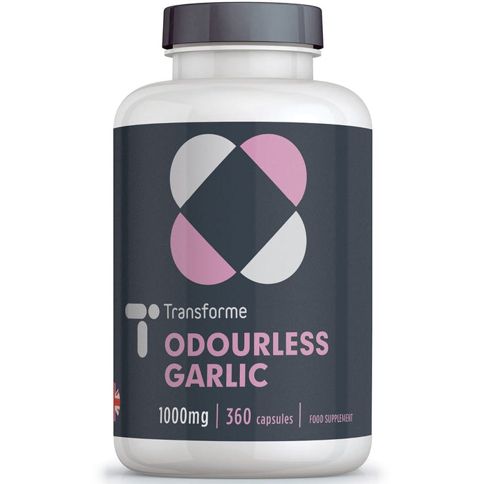 Odourless Garlic 1000mg, 180 or 360 softgel capsules, super strength, one of nature's best antibacterials with vitamins and minerals, from Transforme