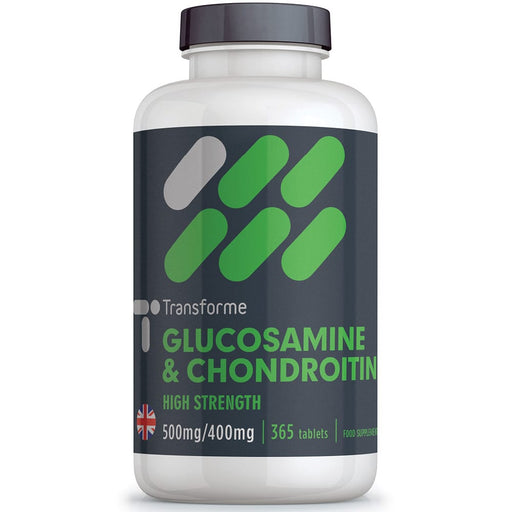 High strength Glucosamine Sulphate 500mg and Chondroitin (90%) 400mg Complex, 90, 180 & 365 tablets, joint support from Transforme