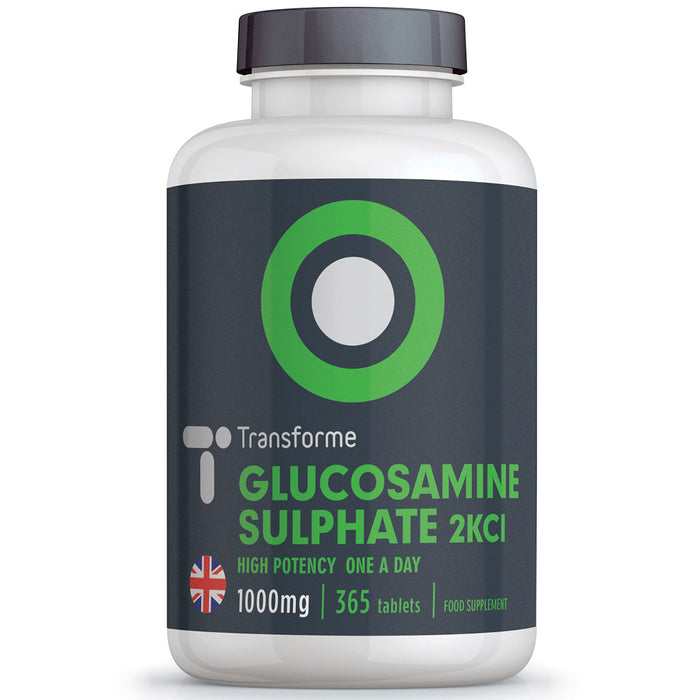 Glucosamine Sulphate 2KCl high strength 1000mg coated tablets, 180 and 365 bottle sizes by Transforme