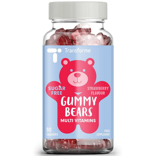 Multivitamins for kids, sugar free Gummy Bears for children 4 years and older, 20 vitamins, chewable strawberry flavour, 90, 180 & 270 packs, from Transforme