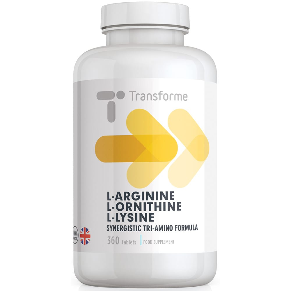 Bottle Precision engineered L-Arginine L-Ornithine L-Lycine tablets, highly absorbable free form amino acids, vegetarian & vegan from Transforme