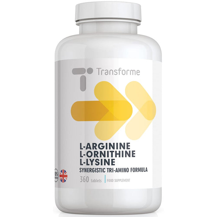 Precision engineered L-Arginine L-Ornithine L-Lycine tablets, highly absorbable free form amino acids, vegetarian & vegan, The Three Aminos 360 tablet bottle from Transforme