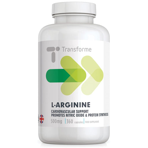 Transforme L-Arginine 500mg HCl Amino Acid Supplement, 360 capsule bottle
