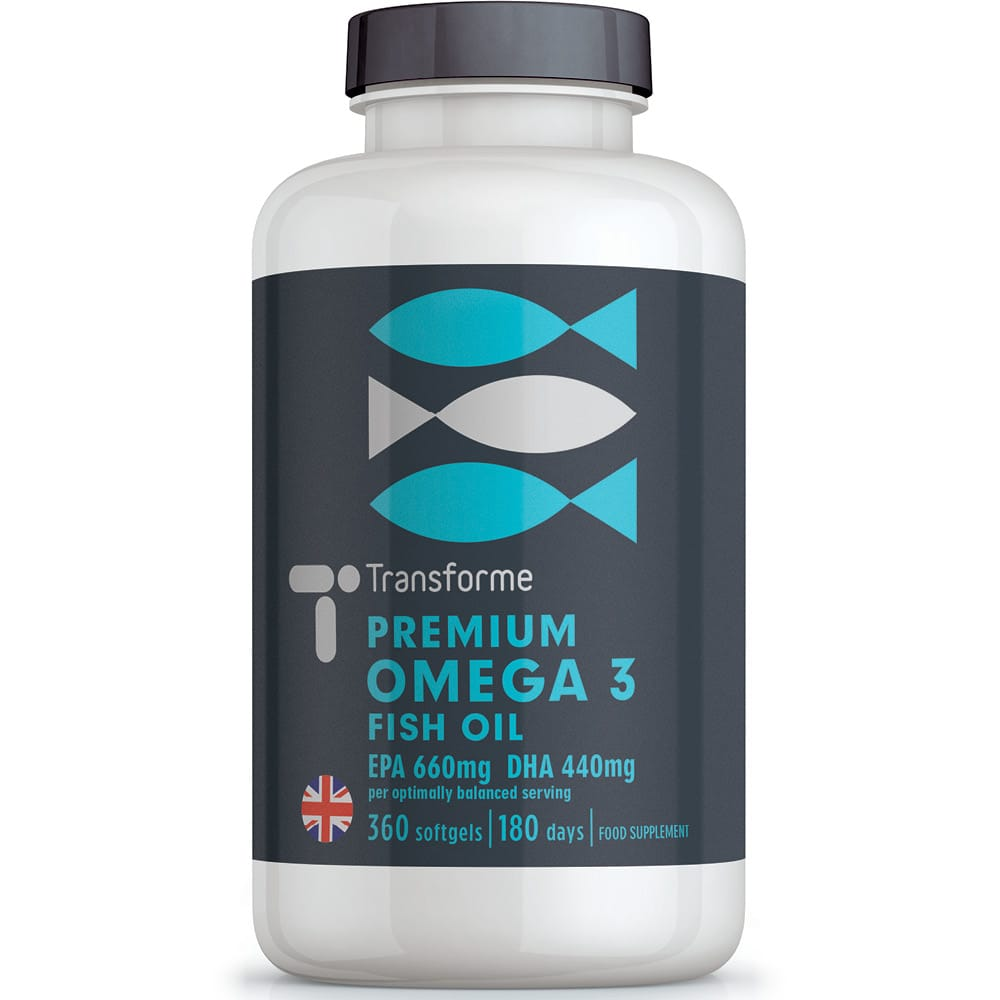 Omega 3 fish oil triple strength 1000mg capsules, super strength 660mg EPA 440mg DHA essential fatty acids per 2000mg optimally balanced serving, from Transforme