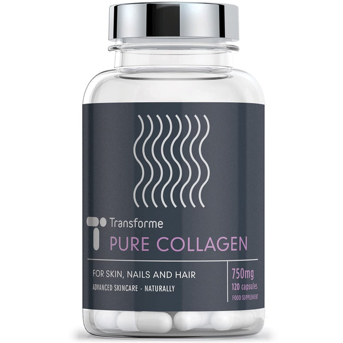 Transforme Pure Collagen Peptides 750mg, High Absorption Hydrolized Collagen, 120 Capsules bottle