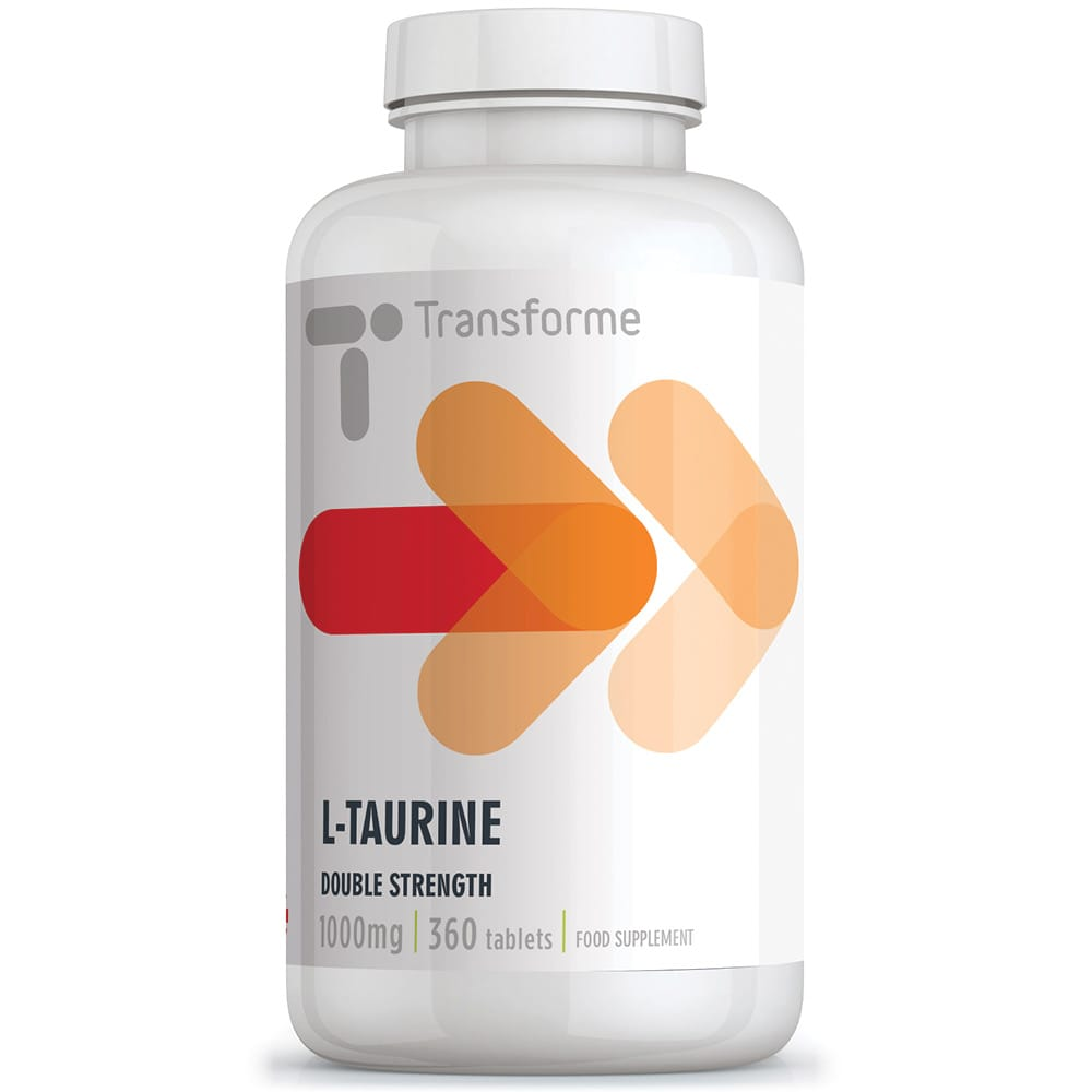 Transforme Taurine tablets 1000mg, high strength amino acid supplement, 360 tablet bottle
