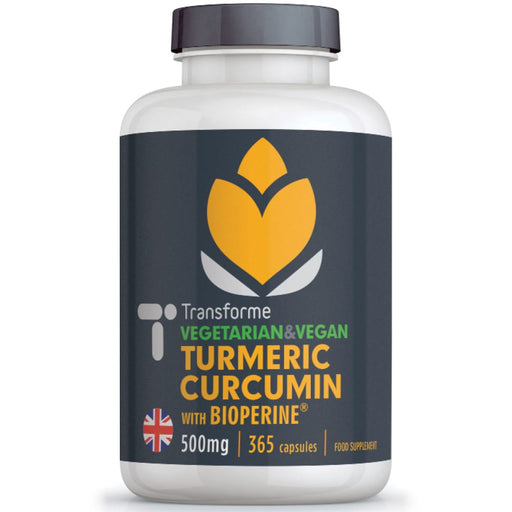Turmeric Curcumin 500mg vegetarian & vegan capsules with BioPerine black pepper extract 365 bottle front from Transforme