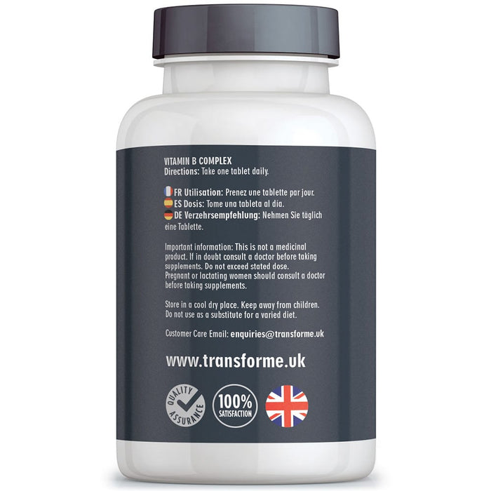 Transforme Vitamin B Complex, 8 essential B Vits: B1, B2, B3, B4, B5, B6, B7 (Biotin), B9 (Folic Acid) & B12, vegan & vegetarian, 365 tablets bottle back with directions for use
