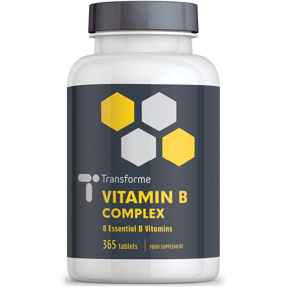 Vitamin B Complex, 365 tablets, 8 essential B Vits: B1, B2, B3, B4, B5, B6, B7 (Biotin), B9 (Folic Acid) & B12, vegan & vegetarian, from Transforme