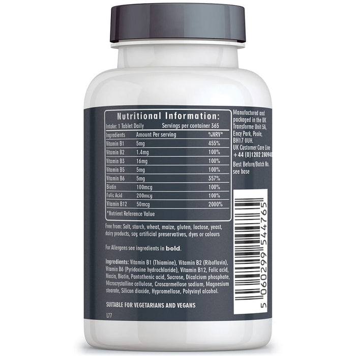 Vitamin B Complex, 8 essential B Vits: B1, B2, B3, B4, B5, B6, B7 (Biotin), B9 (Folic Acid) & B12, vegan & vegetarian, Transforme 365 tablets bottle back with nutritional information