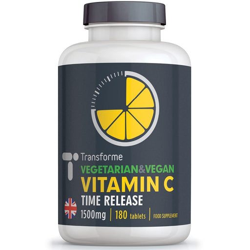 Vitamin C 1500mg tablets with Rose Hips, time release best absorption, supports immune system, skin, teeth & bones, vegetarian, vegan, from Transforme