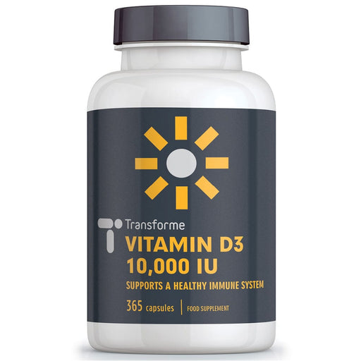Vitamin D3 10 000 iu capsules, maximum strength 'sunshine vitamin' softgels for best absorption, potent cholecalciferol Vitamin D3 capsules from Transforme