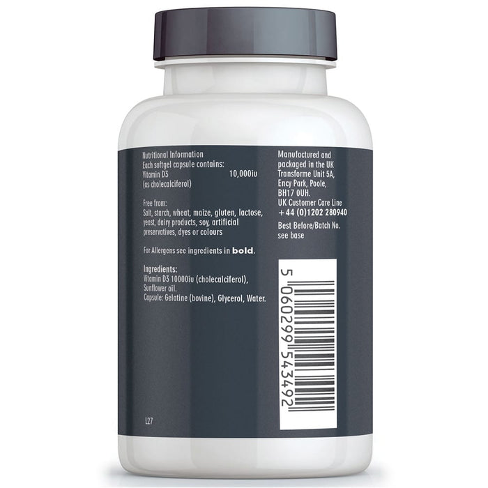 Vitamin D3 10,000iu high strength capsules, liquid in softgels, max absorption, bottle back with nutritional information
