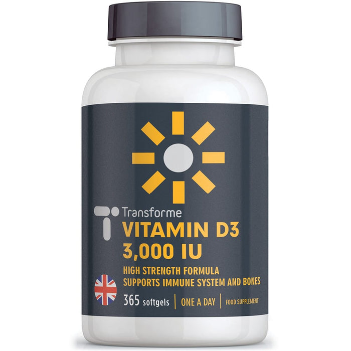 Transforme Vitamin D3 3000 iu cholecalciferol in olive oil, one a day vitamin D softgel capsules, 365 bottle back with directions for use