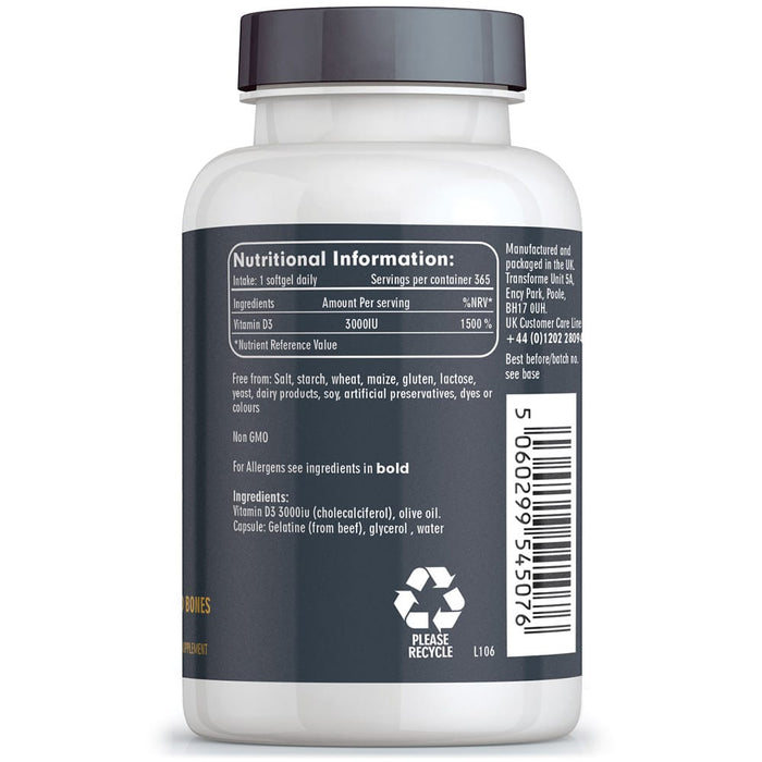 Vitamin D3 3000 iu cholecalciferol in olive oil, 365 vitamin D softgel capsules, Transforme bottle back with nutritional information