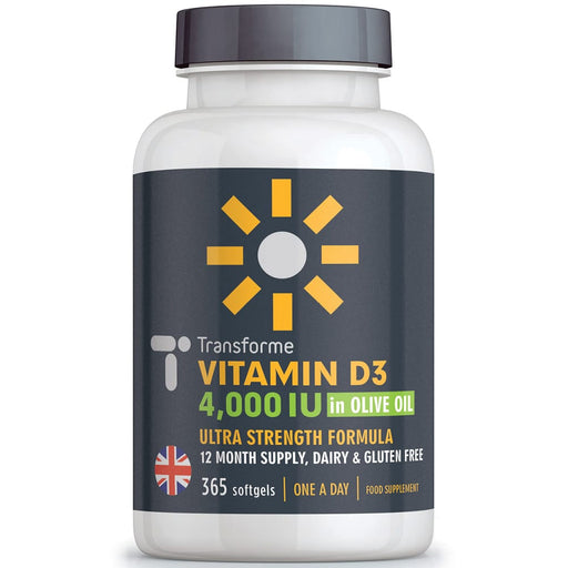 Transforme Vitamin D3 4000 iu Cholecalciferol in Olive Oil Capsules - Vitamin D Supplement for Bones & Immune System, 365 softgel bottle