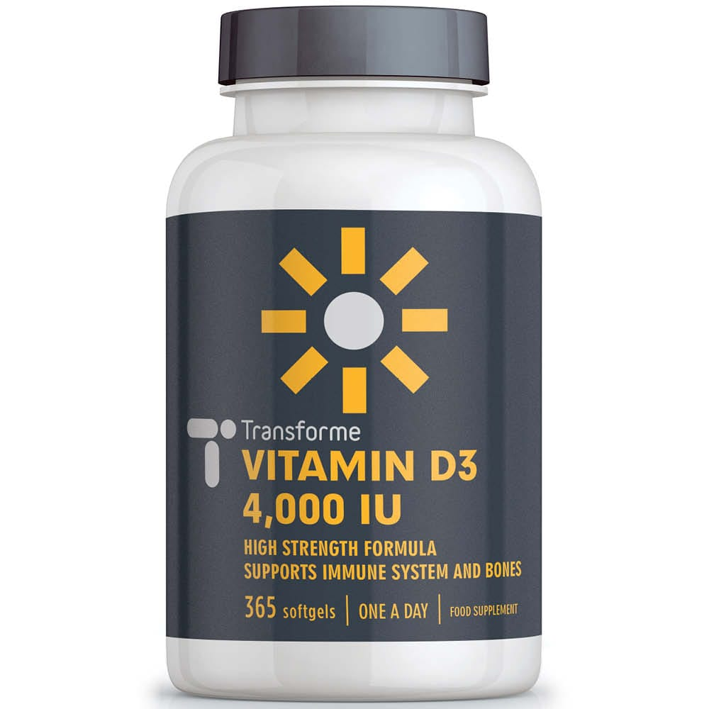 Vitamin D3 4000iu capsules, 365 high strength cholecalciferol softgels, not tablets, for max absorption, a year supply of 'sunshine in a bottle', from Transforme
