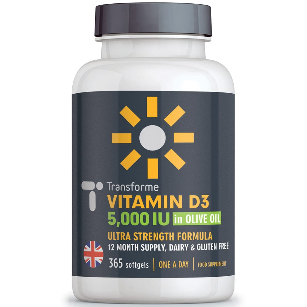 Transforme Vitamin D3 5000 iu Capsules with Olive Oil, one a day Vitamin D softgels for Immune System, Bones & Muscle Function, 365 bottle