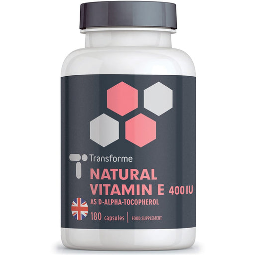 Transforme Vitamin E 400iu capsules, natural source Vitamin E oil in rapid absorption, easy to swallow softgels, 180 capsule bottle