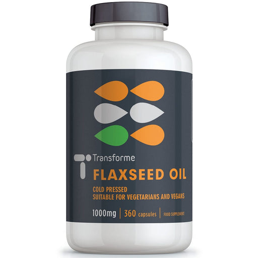 Flaxseed Oil 1000mg, vegetarian & vegan capsules, cold pressed, high strength and purity Omega 3 6 & 9 fatty acids, ALA LA & Oleic Acid, from Transforme