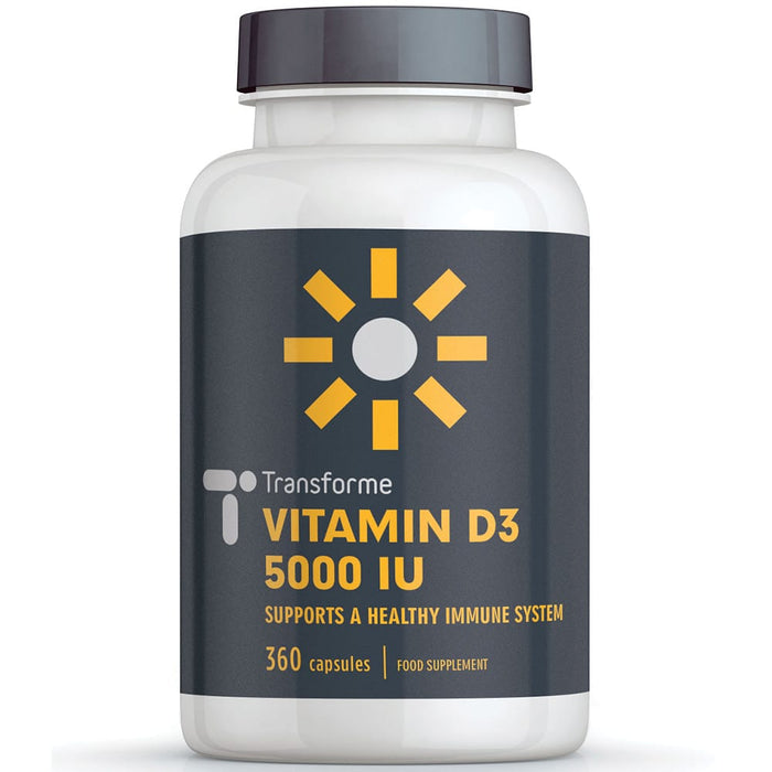 Transforme Vitamin D3 5000 iu capsules, cholecalciferol Vitamin D softgels for bones, immune system & muscle function, 360 capsule bottle