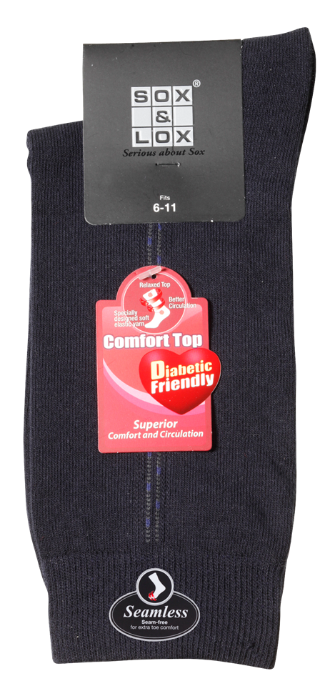 Men's Fine Business Diabetic Friendly [Seamless Toe] SOX&LOX 100% comfortable best socks