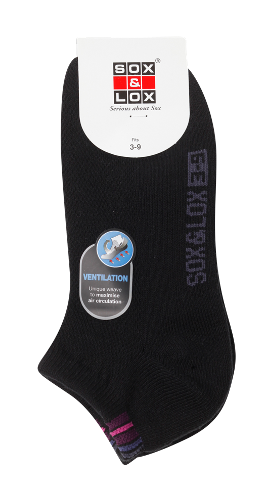 Ladies' Sports Cushioned Low Cut [Ventilation Panel] SOX&LOX 100% comfortable best socks