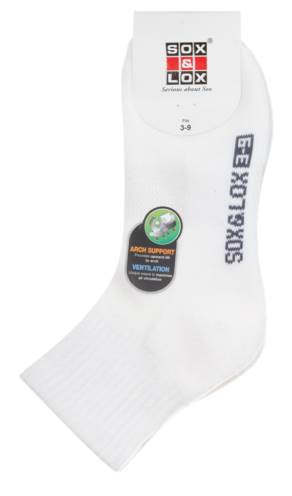 Ladies' Sports Cushioned Midi [Arch Support and Ventilation Panel] SOX&LOX 100% comfortable best socks