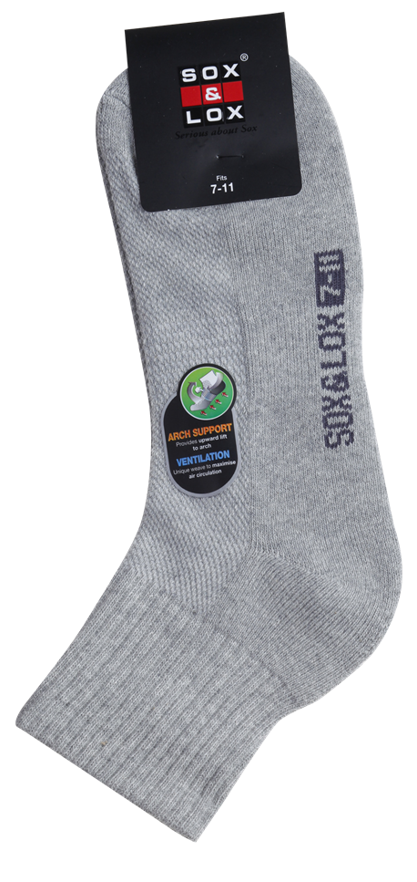 Men's Sports Cushioned Midi [Arch Support and Ventilation Panel] SOX&LOX 100% comfortable best socks