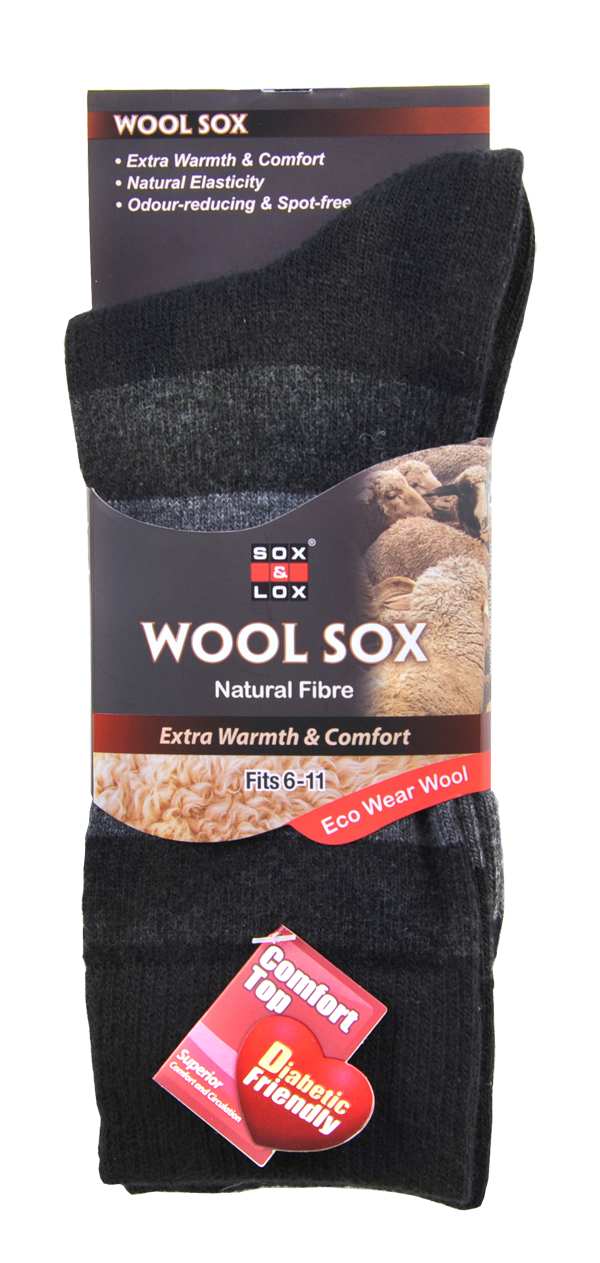 Men's Business Diabetic Friendly [Wool] SOX&LOX 100% comfortable best socks