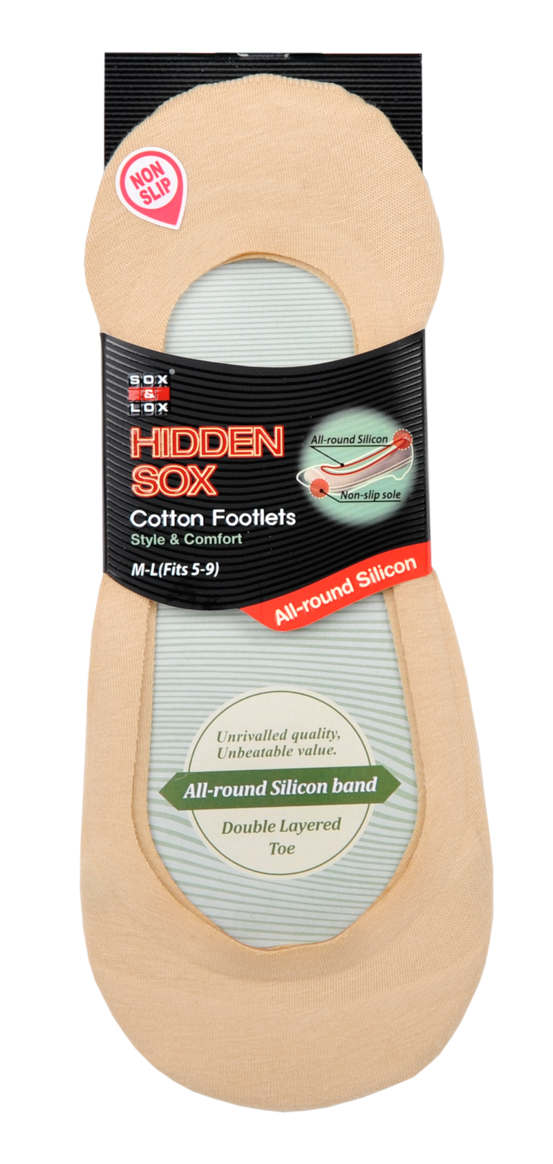 Ladies' No Show Socks With Silicon Band stay hidden below the shoe-line